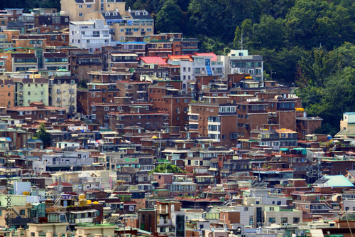 Korea, Landscape of the city with houses. Poster
