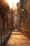 Empty, charming alley with stairs in Vieux Lyon, the old town of Lyon.