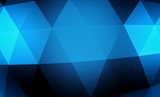 Abstract blue geometric background. Gold texture with shadow. 3D render