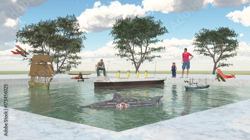 Deurstickers Amusementspark Freizeitpark mit Modellschiffen und Besuchern
