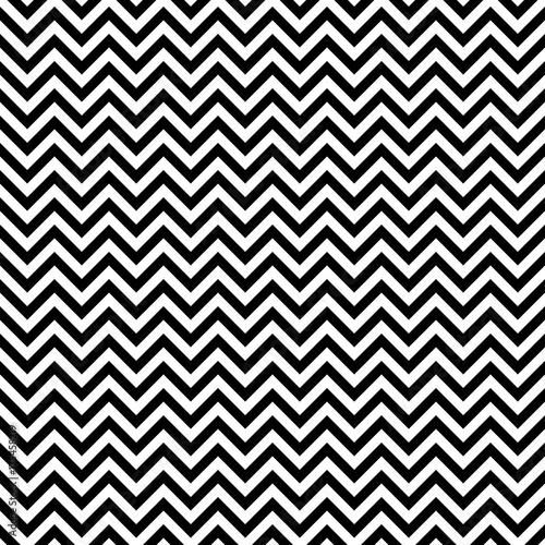 Retro Seamless Pattern Chevron Black/White Little - 175458219