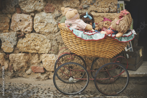 Spoed canvasdoek 2cm dik Fiets Teddy Bears In Baby Carriage
