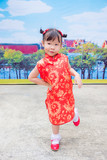 Little chinese girl in traditional chinese costume - 175460026