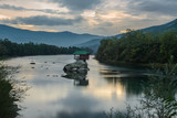 Lonely house on the river Drina in Bajina Basta, Serbia - 175460261