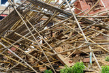 Aftermath of Nepal earthquake 2015, collapsed bamboo scaffolding and temple on Durbar Square in Kathmandu - 175463091