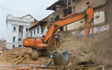 Aftermath of Nepal earthquake 2015, excavator clearing rubble on Durbar Square in Kathmandu - 175463099