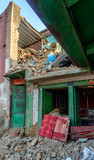 Aftermath of Nepal earthquake 2015, partially collapsed house in Kathmandu - 175463686