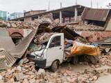 Aftermath of Nepal earthquake 2015, crushed minivan in Kathmandu - 175463898