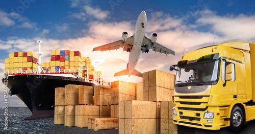 Fototapeta LKW, Flugzeug und Schiff für den Transport von Waren