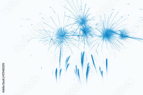 Poster Blue Fireworks on white background