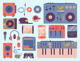 Hip hop accessory musician instruments breakdance expressive rap music dj vector illustration. - 175466415