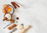 Baking ingredients flour, butter, sugar, salt, eggs - 175466861