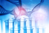Test tube with DNA on abstract background. 3d illustration . - 175468241