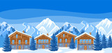 Alpine chalet houses. Winter resort illustration. Beautiful landscape with snowy mountains and fir forest
