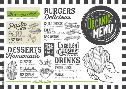 Organic menu restaurant, food template. - 175471853