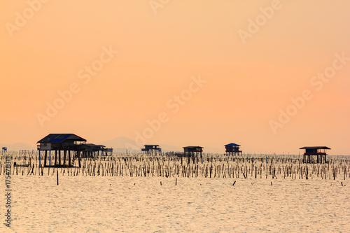 Aluminium Thailand sea farming in the southern Thailand, twilight sky background