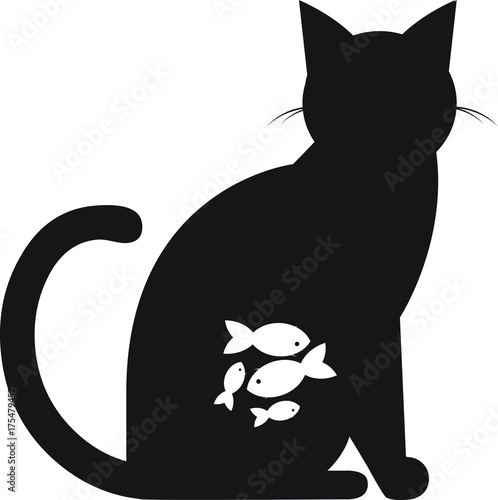 A cat with fish in his stomach