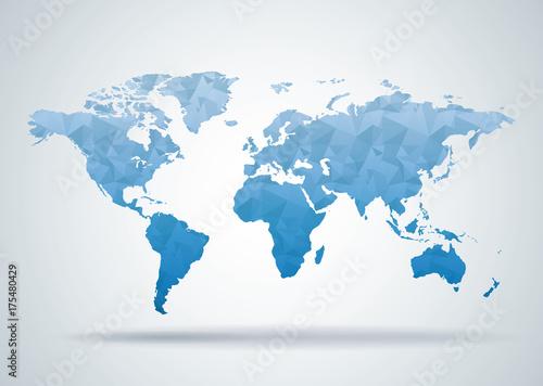 Foto Murales World Map Polygonal Style Background, Print Ready Design