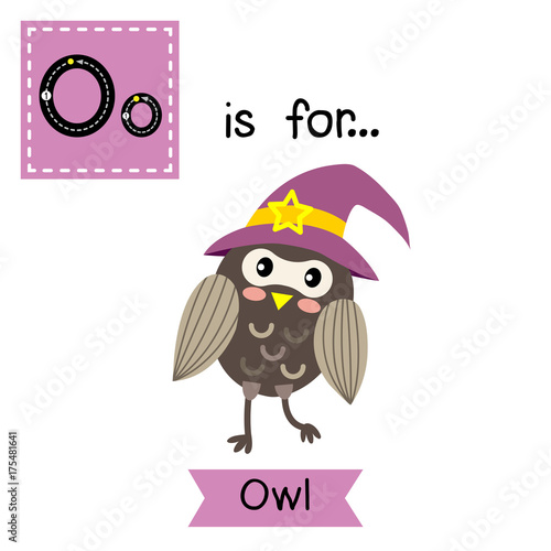 Foto op Aluminium Uilen cartoon Cute children ABC alphabet O letter tracing flashcard of Owl with witch hat for kids learning English vocabulary in Happy Halloween Day theme.