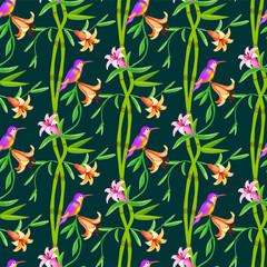 Hummingbird seamless pattern with bamboo.