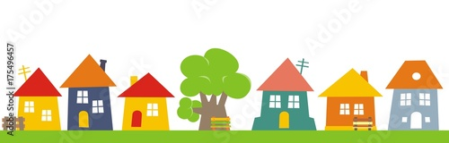 Town, color vector  icon, group of houses.