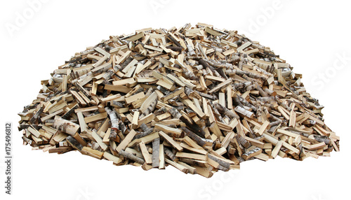 Tuinposter Brandhout textuur pile of firewood on a white background. axe chopped wood.