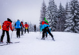 Skiers ride the slopes in the mountains, Christmas holidays