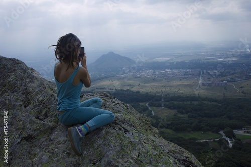 a girl on the mountain