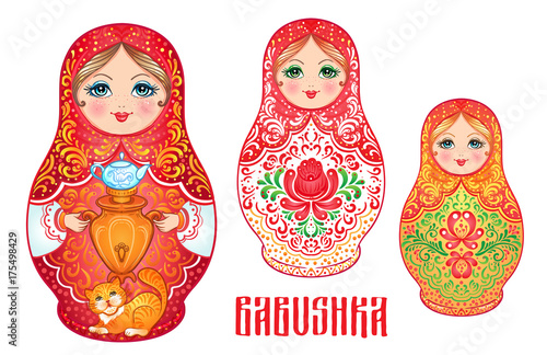 Babushka (matryoshka), traditional Russian wooden nesting doll decorated with painted flowers. Folk arts and crafts. Vector illustration in cartoon style isolated on white. © vgorbash