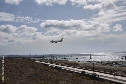 Deurstickers Canarische Eilanden Lanzarote, Spain - August 20, 2015 : View of Los Pocillos beach, Lanzarote