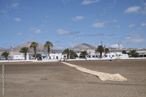 Fotobehang Canarische Eilanden Lanzarote, Spain - August 20, 2015 : View of Playa de Matagorda