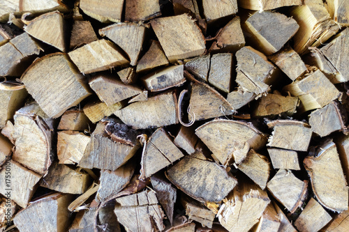Poster Brandhout textuur Exactly stacked firewood