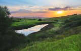 Beautiful summer scene with setting sun and river.Bright sunset .River Upa in Tula region,Russia.  - 175502836