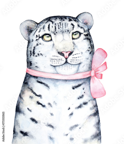 A closeup portrait of a cute spotted snow leopard kitten looking above, dressed in a pink satin bow. Holiday decoration. Hand painted watercolor illustration isolated on a white background - 175503863