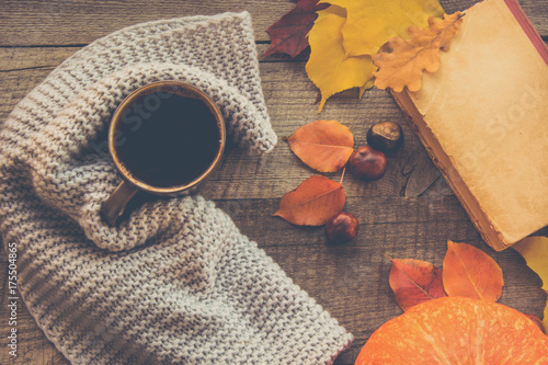 Cup of coffee, cozy knitted scarf, autumn leaves, book and pumpk