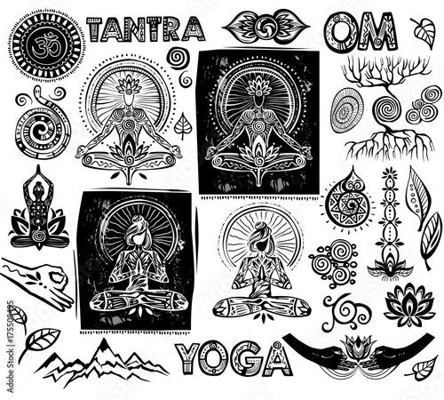 Plakat Set Vector Yoga elements