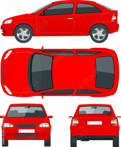 Fridge magnet Set of Sedan Cars. Isolated car, template for car branding and advertising. Front, rear , side, top Change the color in one click All elements in groups on separate layers