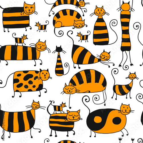 Fototapeta Cute striped cats family, seamless pattern for your design