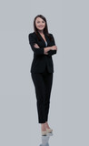 Successful business woman with arms crossed - isolated over whit - 175515080