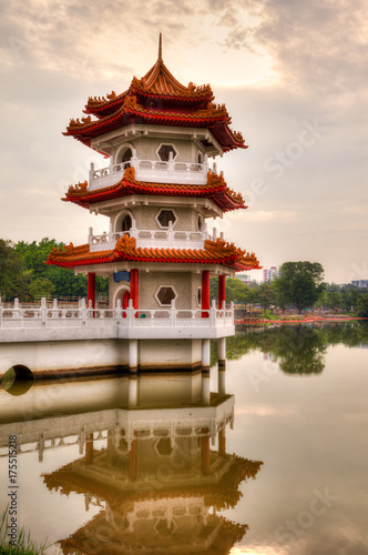 Sunset Over Pagoda at Chinese Gardens, Singapore Poster