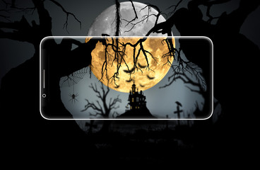 Halloween night background on smartphone