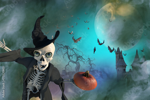 3D Illustration of a Halloween skeleton wearing a witch hat