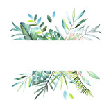 Tropical plants collection. Watercolor colorful frame. Collection included tropical leaves and branches. Perfect for you postcard design,invitations,projects,wedding card,logo. - 175524228