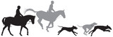 Foxhunting, hunters on horses and running foxhound dogs silhouettes, Fox hunting, Hunting with hounds vector illustration