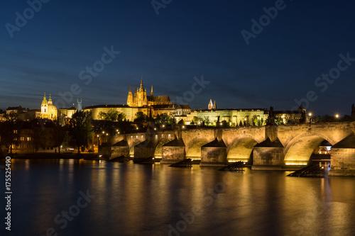 Prague Castle and Charles bridge at dusk Poster