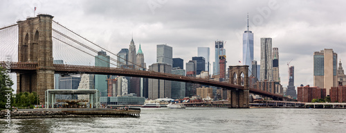 Lower Manhattan Skyline and Brooklyn Bridge Panorama, NYC, USA - 175526621