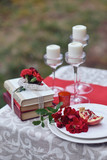 autumnal floristic decor on the street wedding table setting