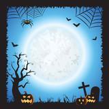 Halloween Square Blue Vector Scene Background 1