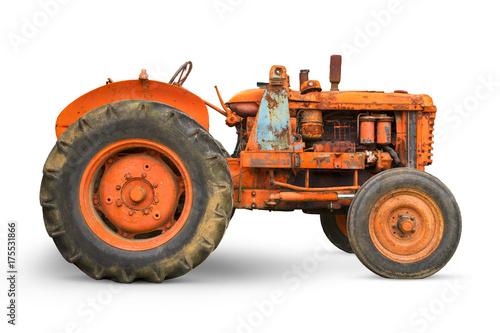 Fotobehang Trekker Old rusty farm tractor isolated on white background
