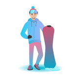 Snowboard character vector illustration. Man with sports equipment. Extreme sportsman isolated on a white background. - 175533439